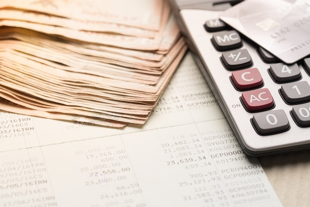 Passbook and calculator,finance and banking concept
