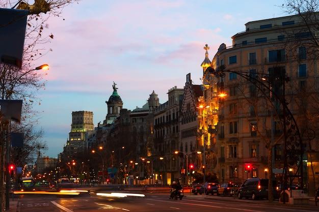 Passeig de gracia in winter evening. barcelona