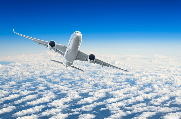 Passenger airplane flies on a flight level against a background of clouds and a blue sky.