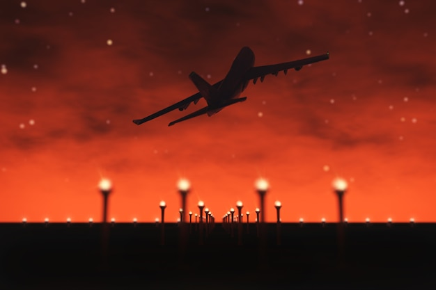 Passenger airplane fly up over take off runway from airport on a night sky background. 3d rendering