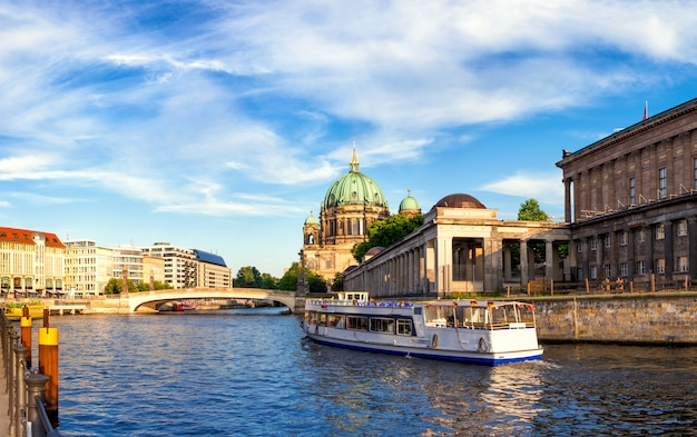 Passenger boat on river spree in berlin