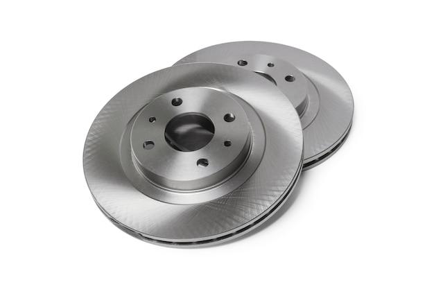 Passenger car front brake disc set isolated on white