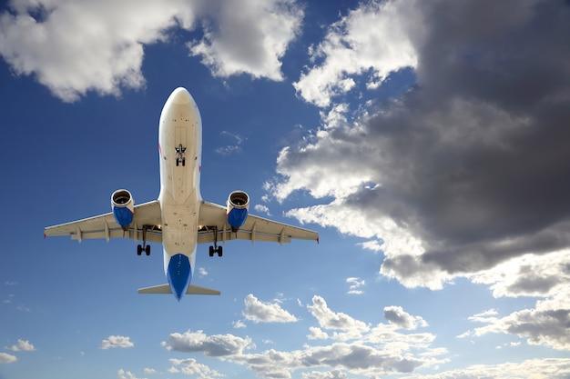 Passenger jet plane flying in the sky