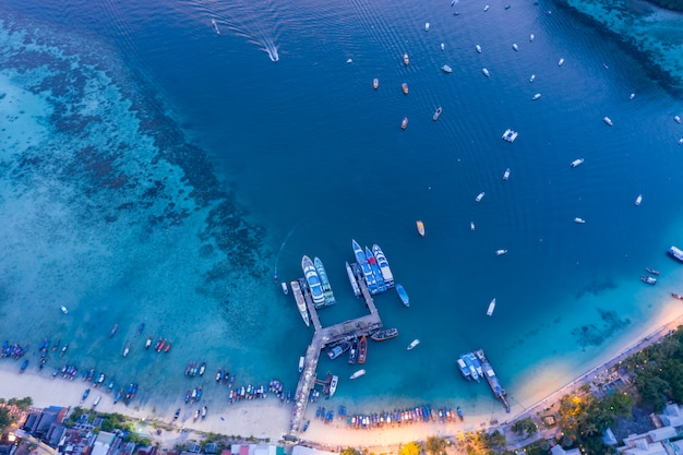 Passenger pier on phi phi island aerial view