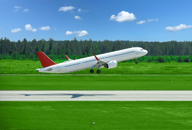 Passenger plane takes off from airport runway in forest.