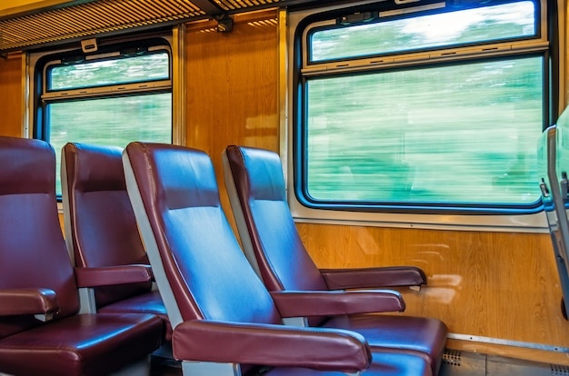 Passenger seat train, concept trip movement, the effect of movement outside the window.