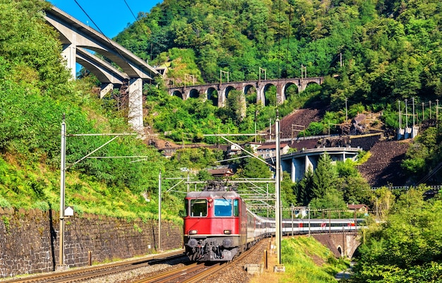 Passenger train at the gotthard pass in switzerland