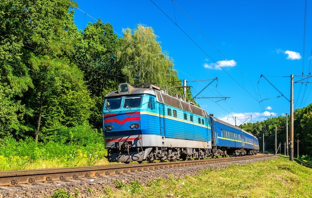 Passenger train in kiev region of ukraine