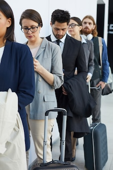 Passengers waiting for airport check-in