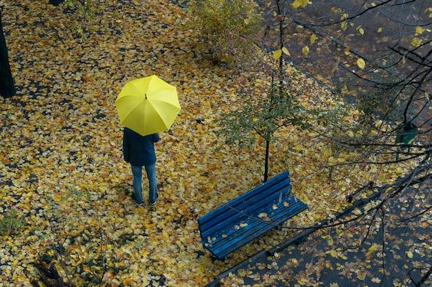 雨の秋の日傘の下の通りを通りすがりの人。上面図。