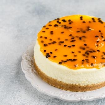 パッションフルーツのチーズケーキ