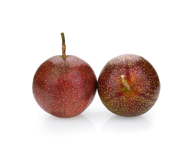 Passion fruit isolated on white background.