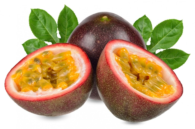 Passion fruit isolated on white clipping path