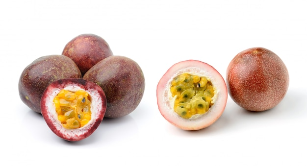 Passion fruit isolated on white space