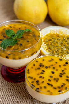 Passion fruit mousse served in bowl.