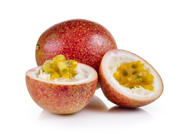 Passion fruit on white wall