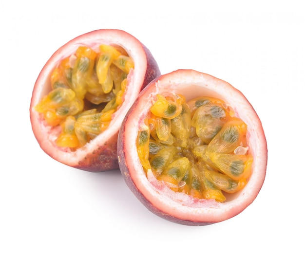 Passion fruit on white .