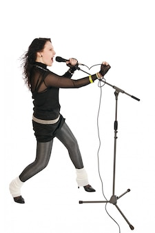 Passionate singer with microphone