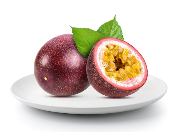 Passionfruits in plate isolated
