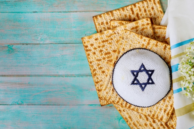 Passover jewish pesah holiday matza haggadah a unleavened bread