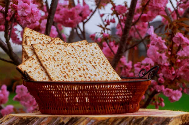 Passover matzoh jewish holiday bread over table.