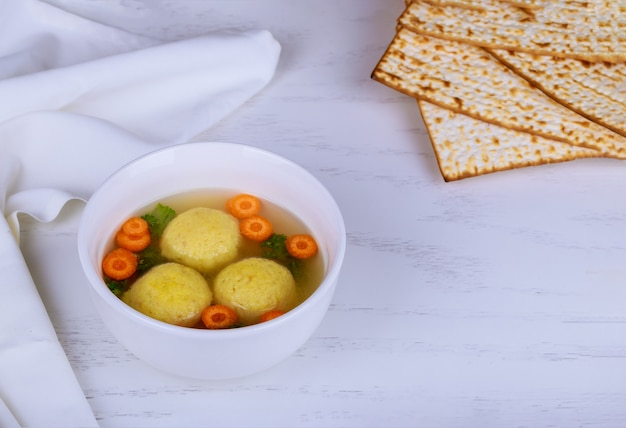 Passover pesach holiday delicious matzoh ball soup with matzah