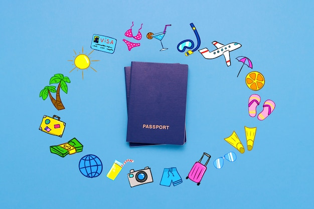 Passport and added icons of the journey and rest on the blue surface