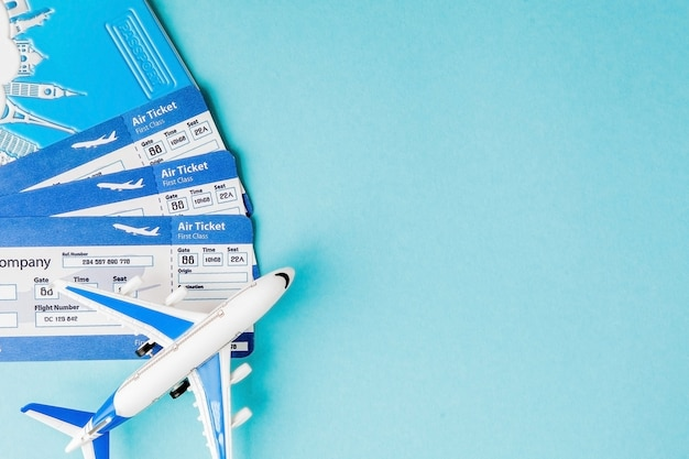 Passport, airplane and air ticket. travel concept, copy space