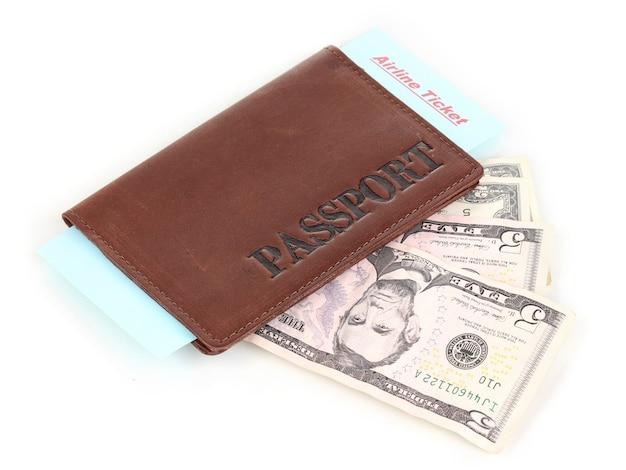 パスポートとチケットは白で隔離