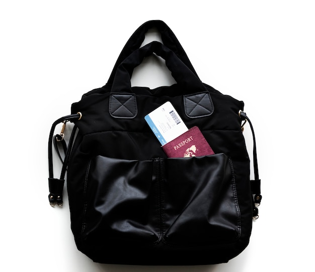 Passport and boarding pass in a handbag