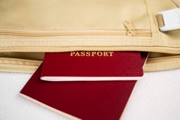 旅行用に用意されたベルトバッグに入ったパスポート