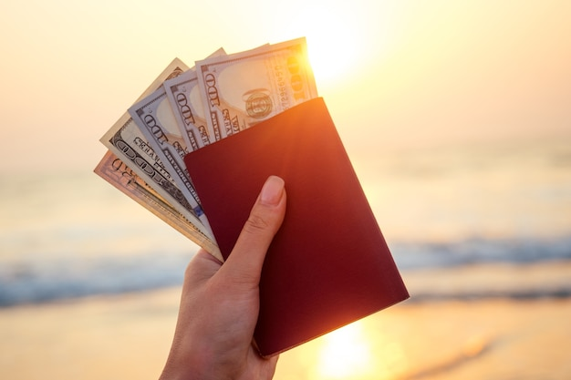 Passport and money in hand on the background of the sea. concept of recreation and tourism.