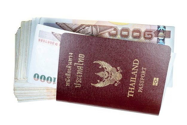 여권, 흰색 표면에 돈입니다.