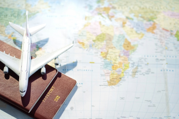 Passport with a map background.travel planning.traveling journey vacation holiday concept.