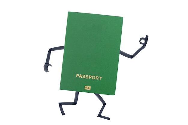 손과 발이 그려진 여권은 제스처를 보여줍니다.