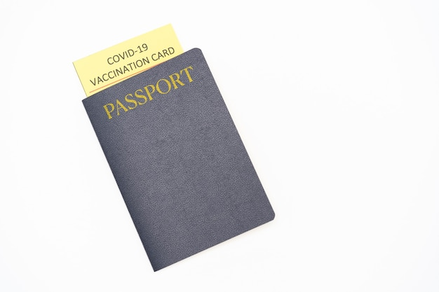 Passport with vaccination certificate for covid19