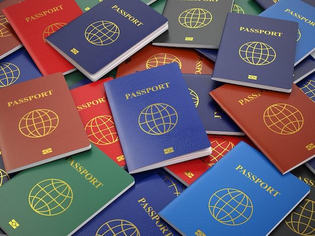 パスポート、さまざまな種類。旅行の観光や習慣の概念の背景。 3d