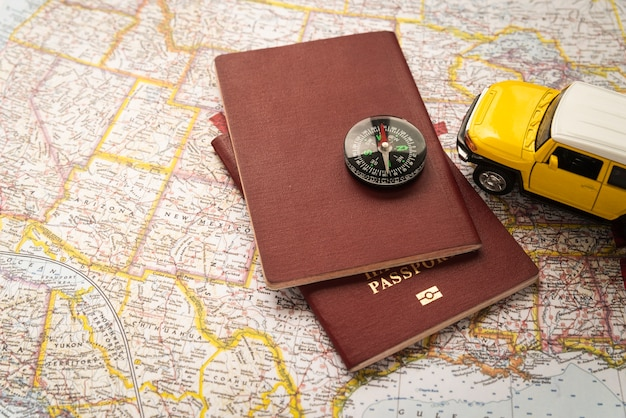 Passports on tourist map