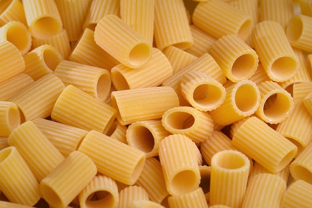 Pasta background closeup view from above different types of pasta top view