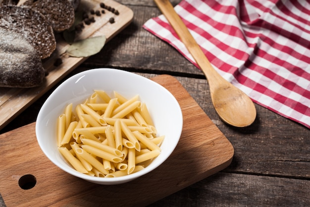 Pasta collection on rustic wood