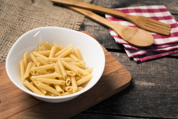 Pasta collection on rustic wooden table