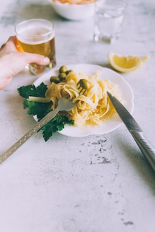 Pasta dish with beer