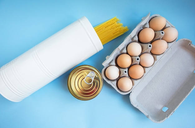 Pasta, eggs and canned food.