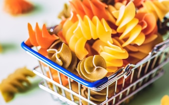 Pasta in a shopping basket