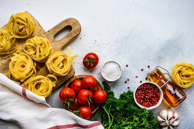 Pasta and ingredients concept