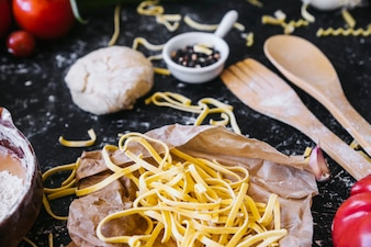 Pasta lying on kitchen table