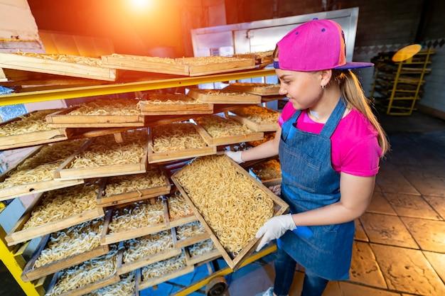 パスタ工場とパスタの生産段階。棚の箱に切った新鮮なマカロニ。産業機械。