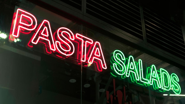 Pasta salads sign in neon lights
