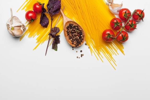 Pasta spaghetti with ingredients for cooking pasta