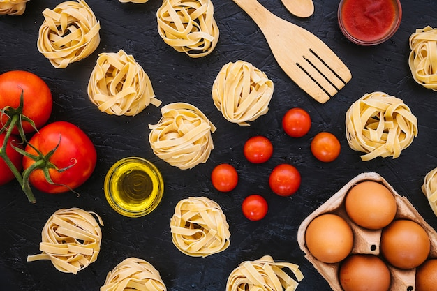 Pasta and spatula near ingredients